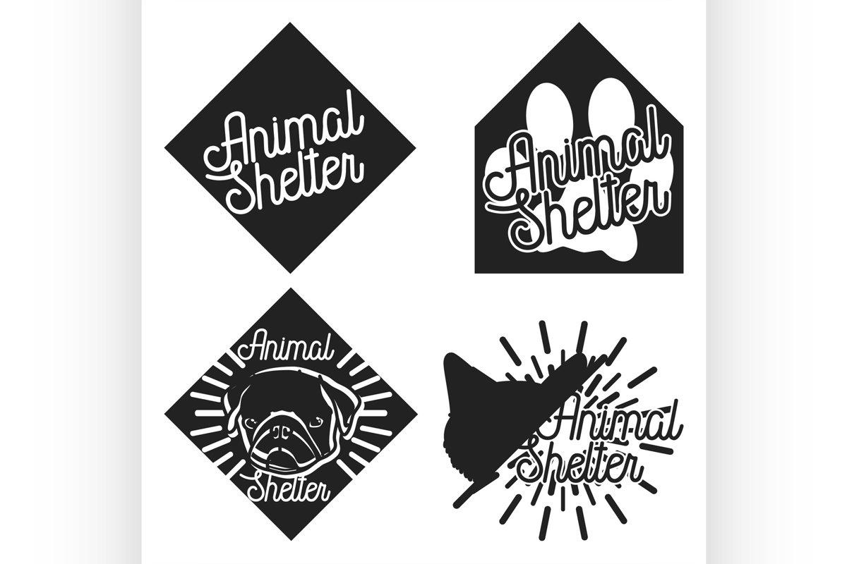 Vintage animal shelter emblems example image 1