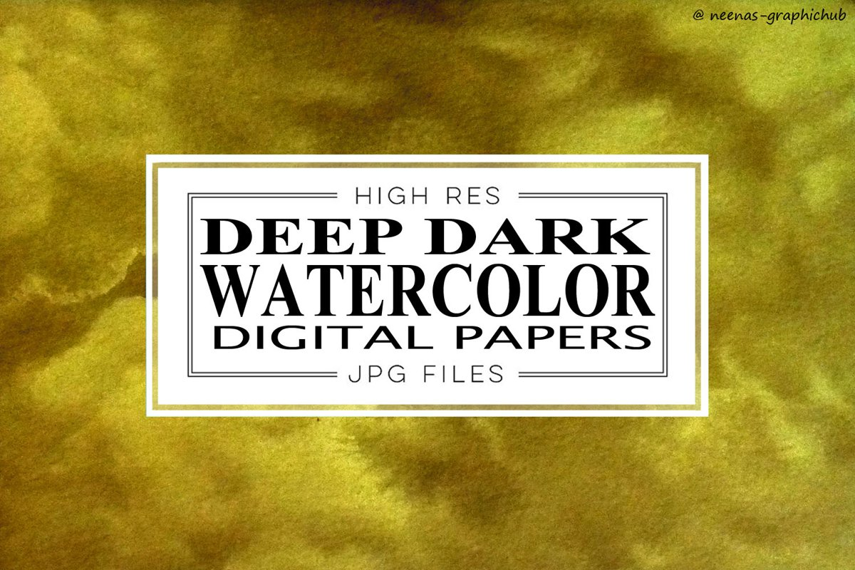 Deep Dark Watercolor Digital Papers example image 1