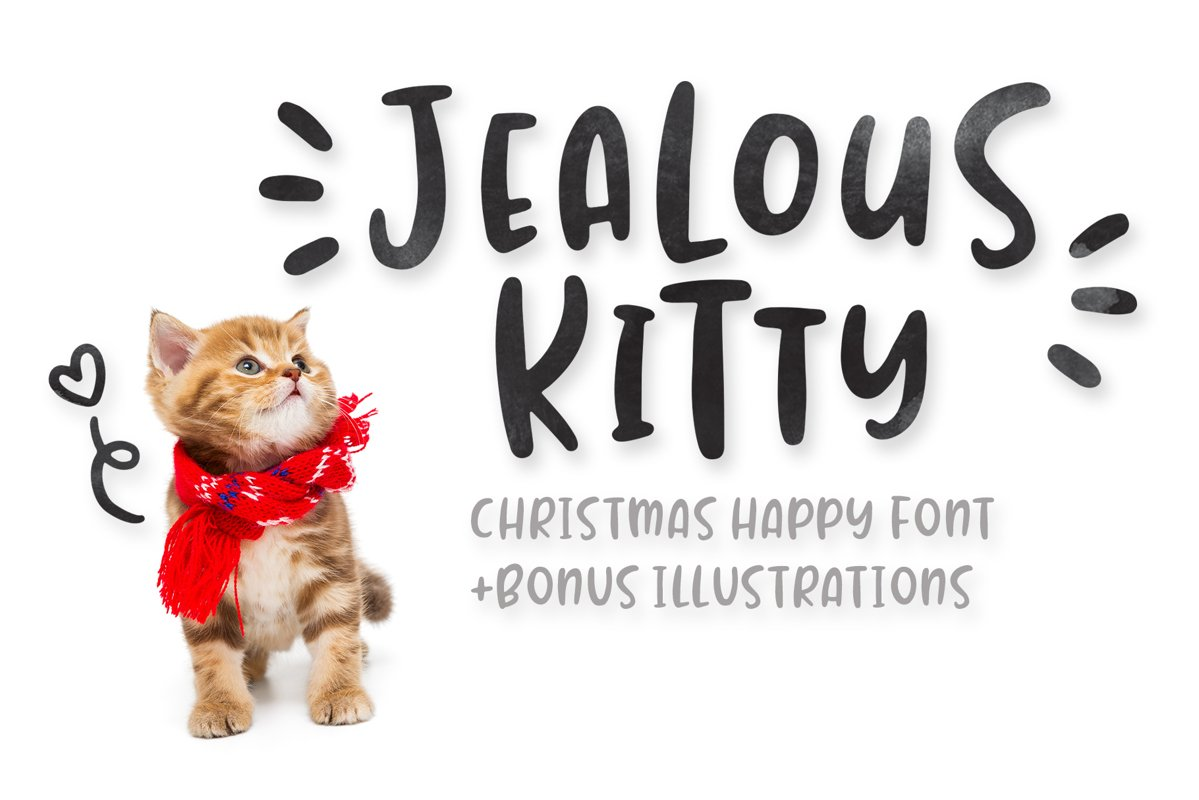 Jealous Kitty - Christmas Happy Font example image 1