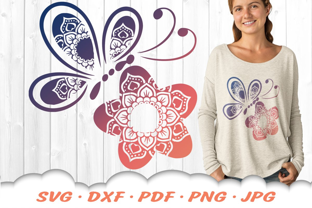Floral Butterfly Mandala SVG DXF Cut Files Bundle example image 1