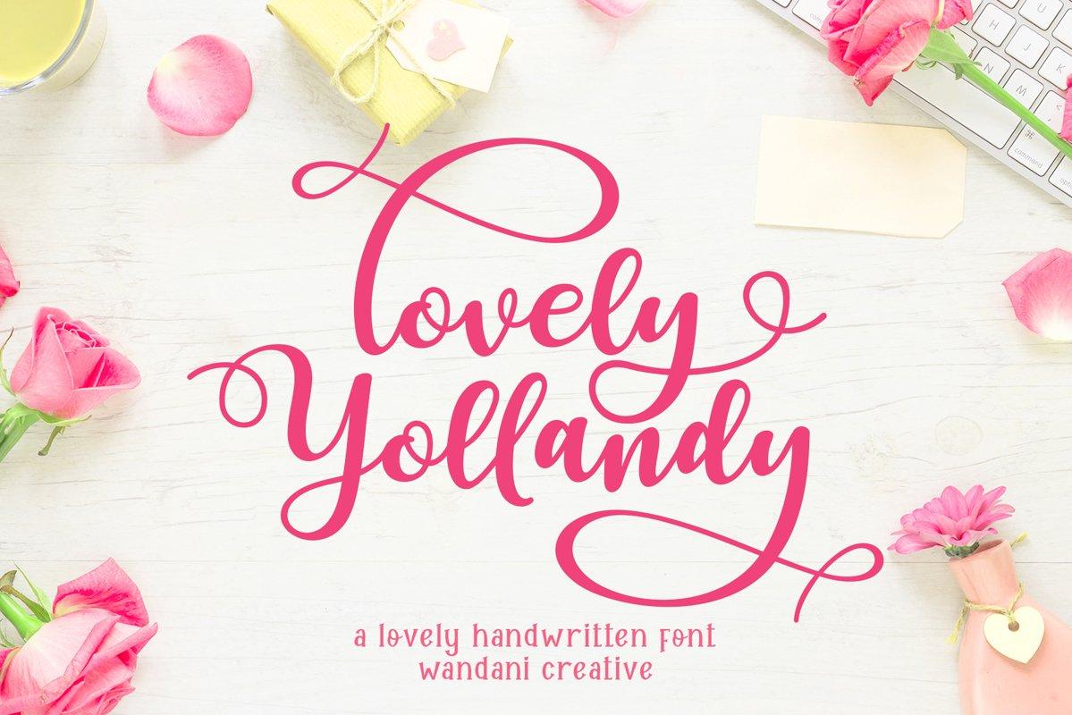 Lovely Yollandy // Script Font example image 1