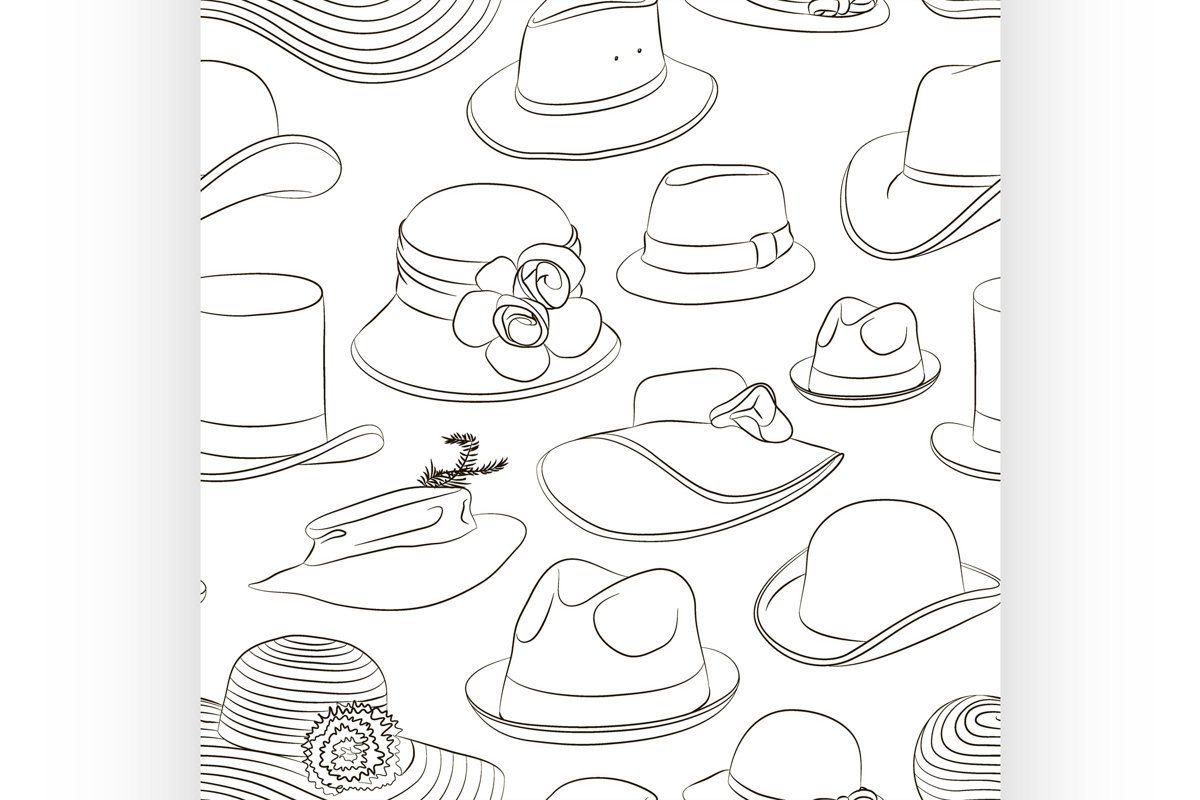 Vector set of man and woman hats pattern example image 1