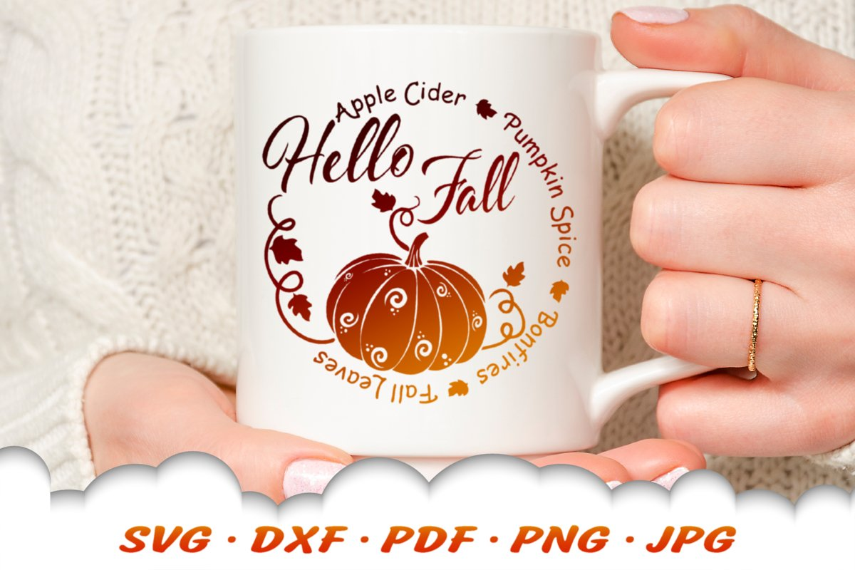 Hello Fall Pumpkin Round SVG DXF Cut Files example image 1