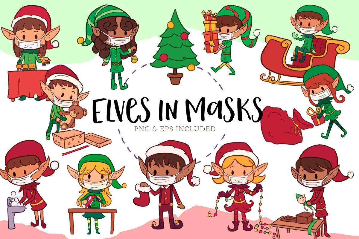 Christmas Elves In Masks example image 1