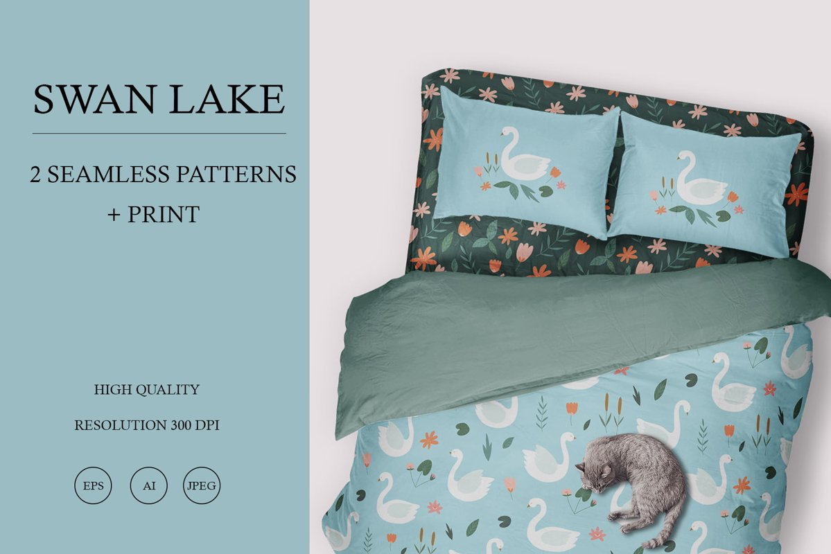 Swan lake. Vector seamless pattern with swans and flowers. example image 1