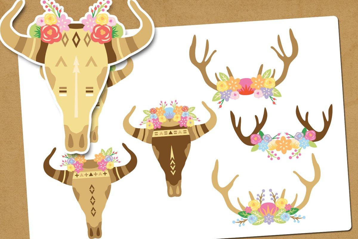 Boho skull illustration clip art example image 1