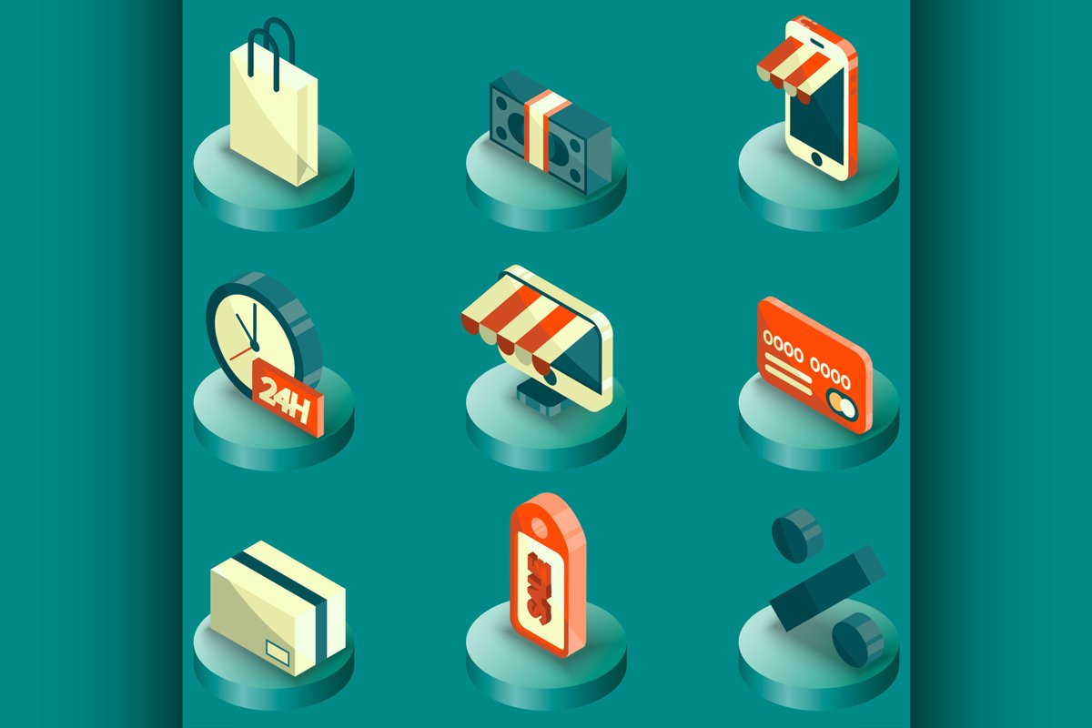 Shopping color isometric icons example image 1