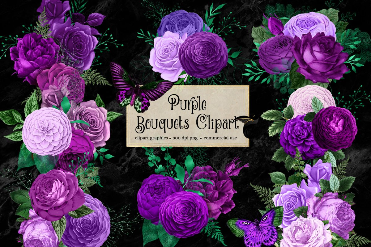 Purple Bouquets Clipart example image 1