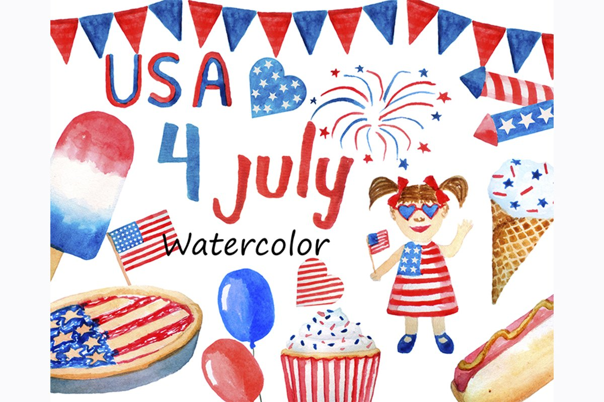 Watercolor 4th of July USA Patriotic Clipart png example image 1