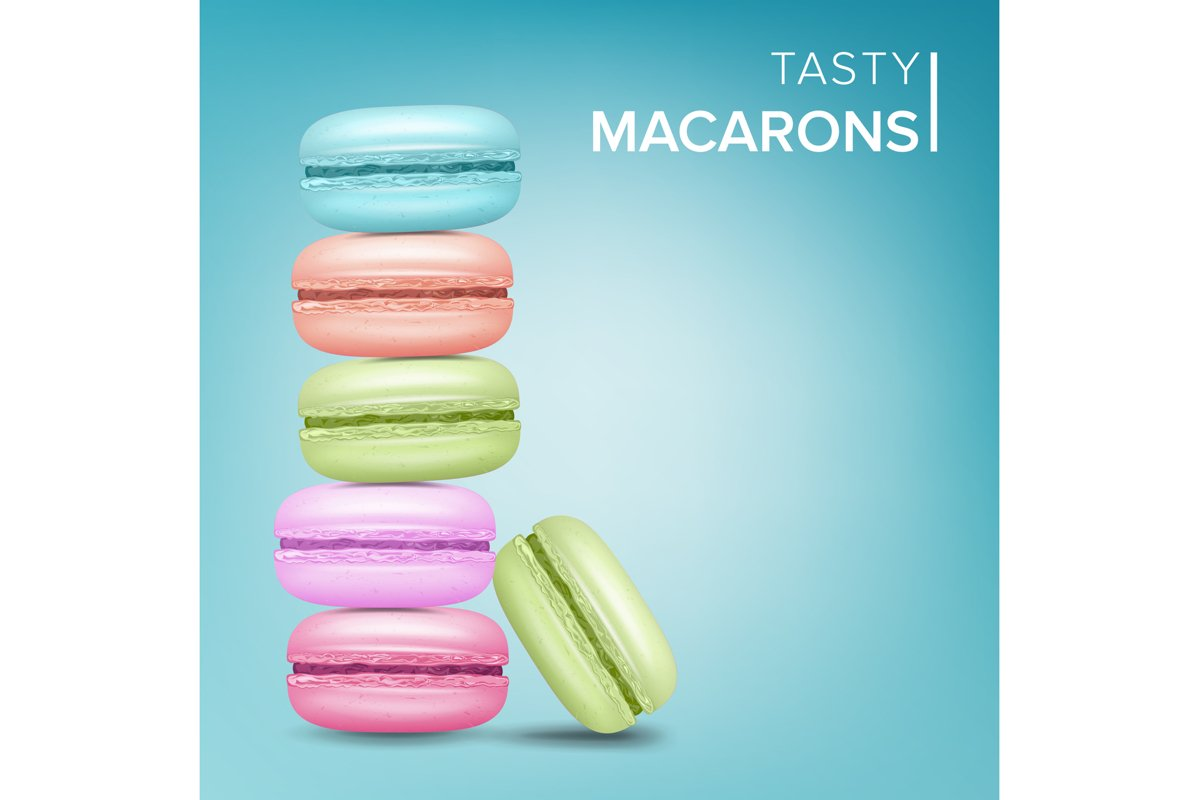 Colourful Macarons Vector. Tasty Sweet French Macaroons On example image 1