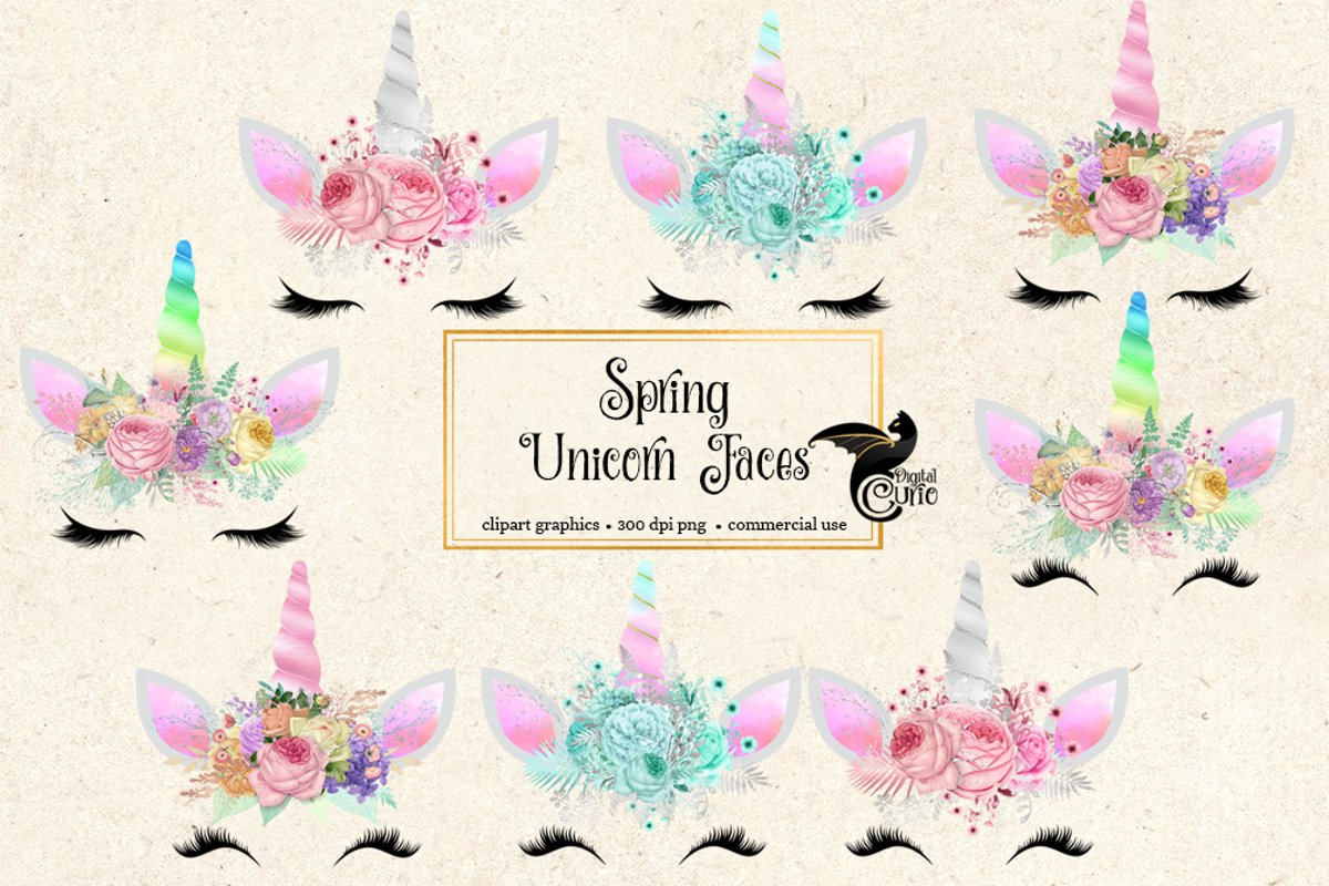 Spring Unicorn Face Clipart example image 1
