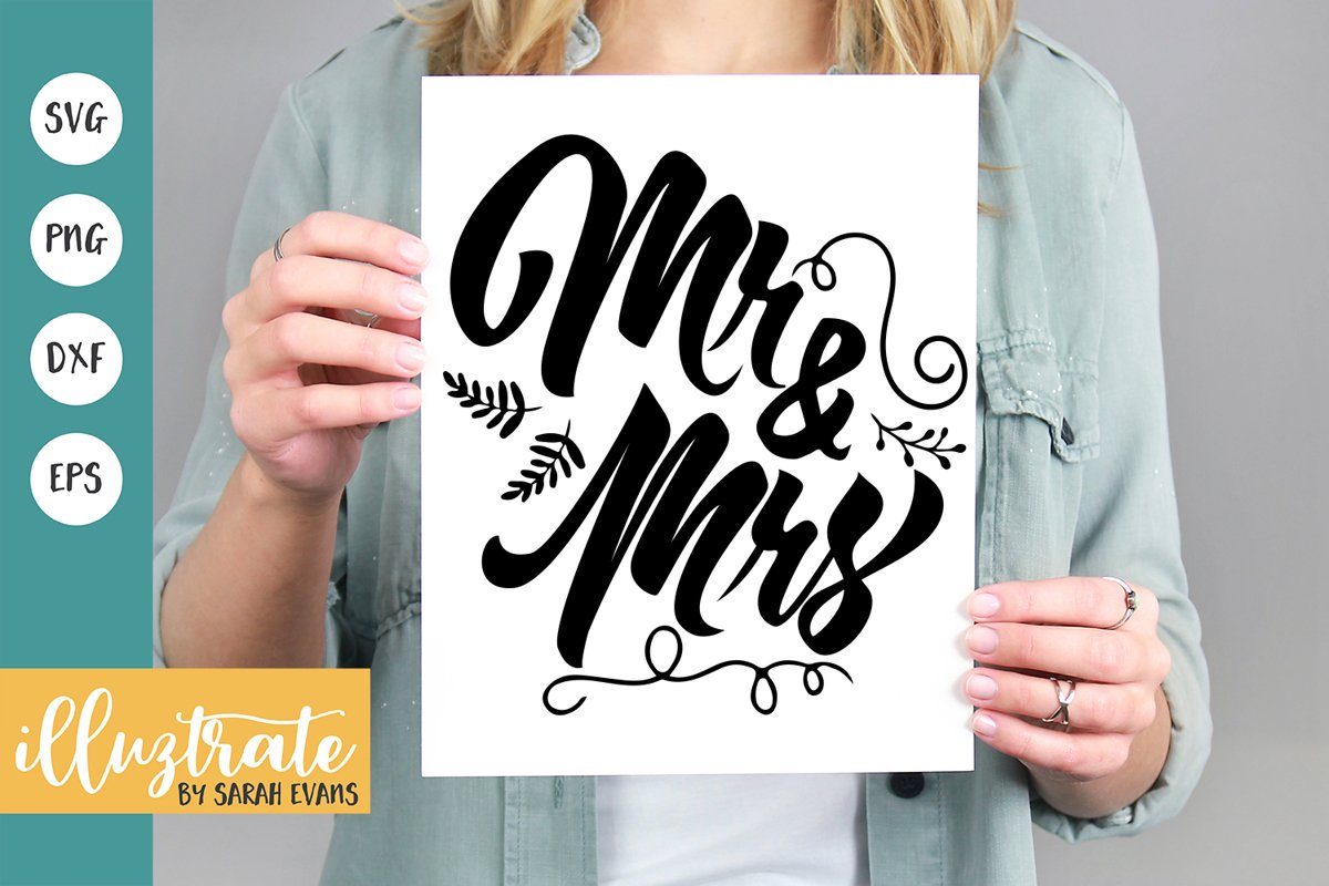 Mr & Mrs SVG Cut File | Wedding Quote | Wedding SVG example image 1