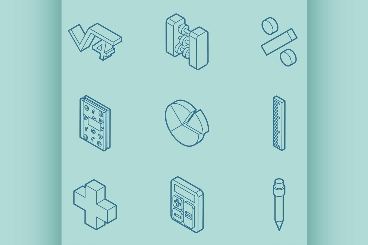 Algebra color outline isometric icons example image 1