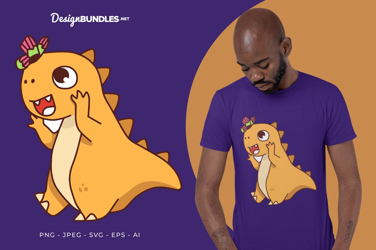 Dino and Butterfly Vector Illustration For T-Shirt Design example image 1
