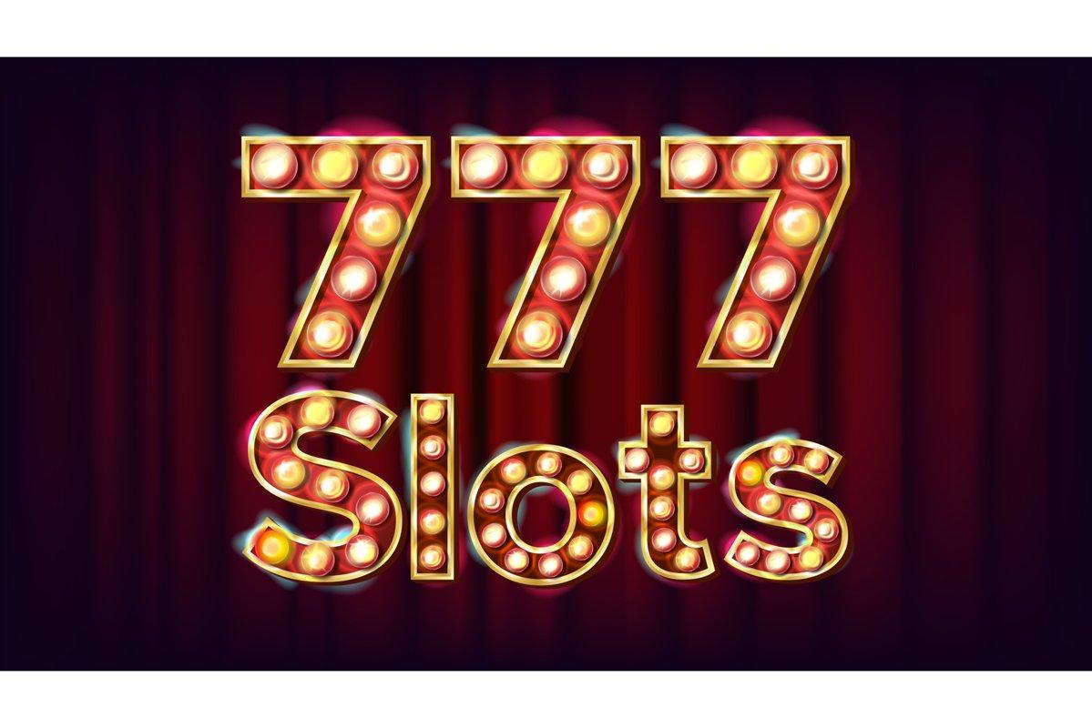 777 slots Banner Vector. Casino Vintage Style Illuminated example image 1