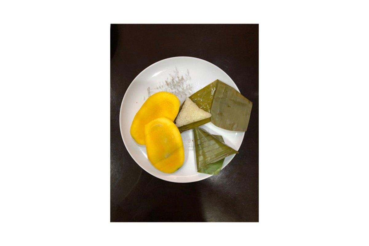 Suman or Filipino Rice Cake with Mango Slices example image 1