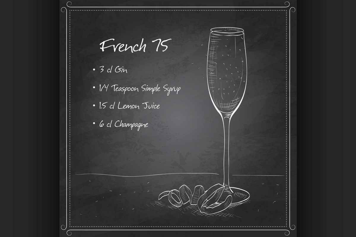 Cocktail French 75 on black board example image 1