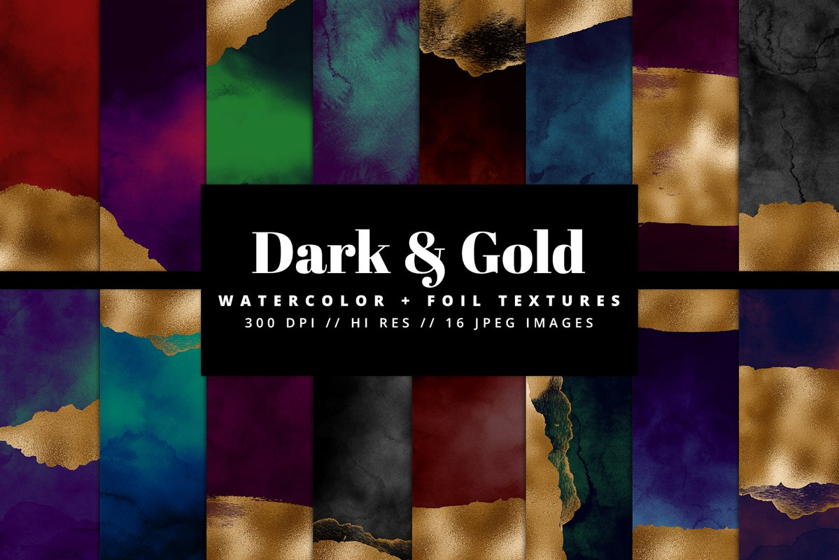 Dark & Gold Watercolor Texture Pack example image 1