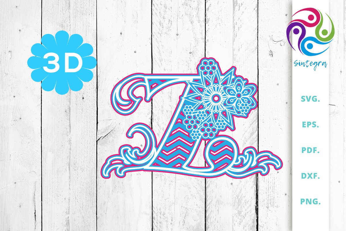 3D Multilayer Floral Chevron Letter Z, SVG Cut File example image 1