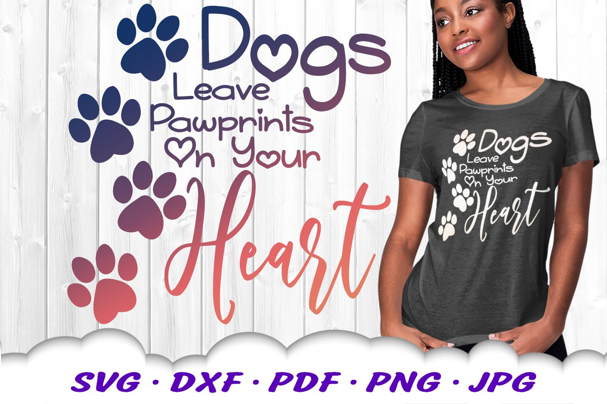 Dog Mom Paw Print Quote SVG DXF Cut Files example image 1