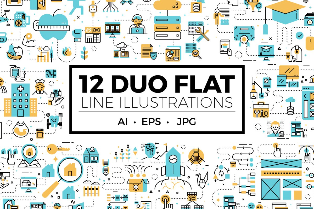 Duo Flat Line Web Banner Illustration V1 example image 1