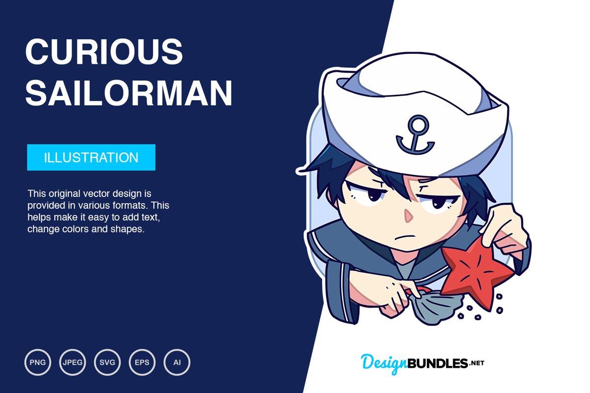 Curious Sailorman Vector Illustration example image 1