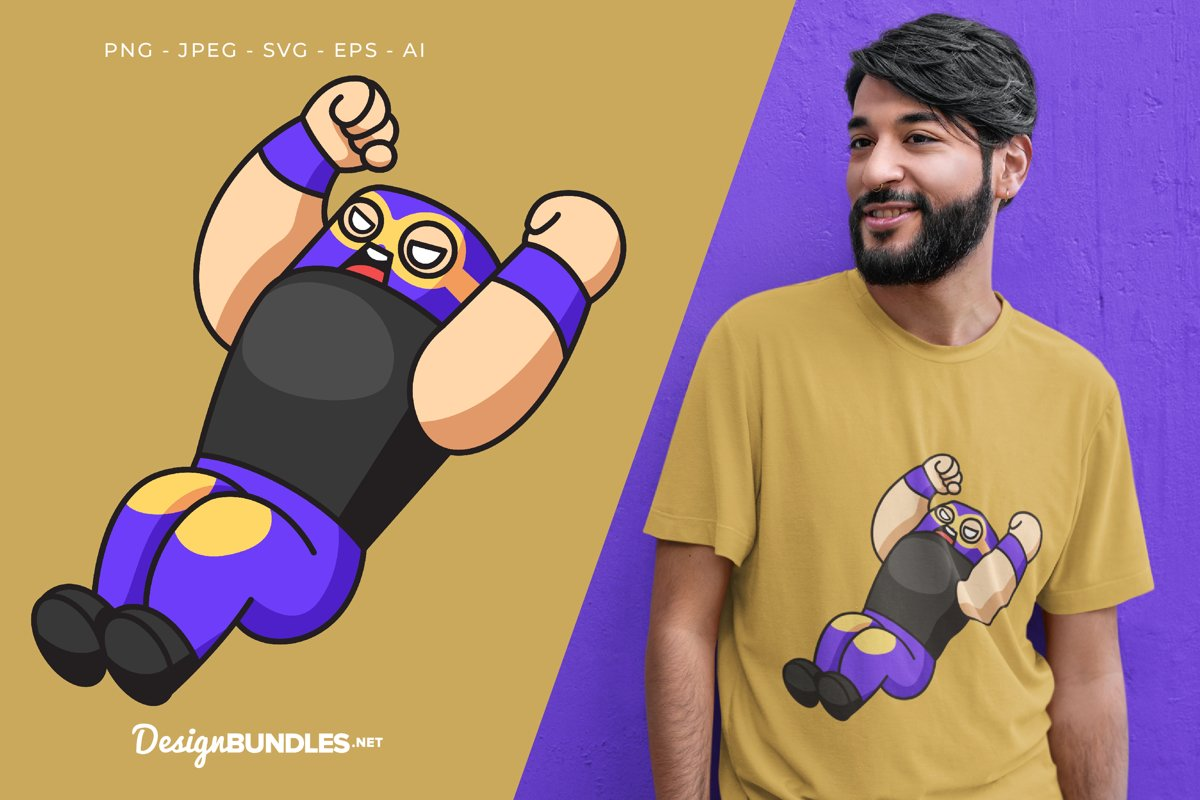 Flying Kick Vector Illustration For T-Shirt Design example image 1