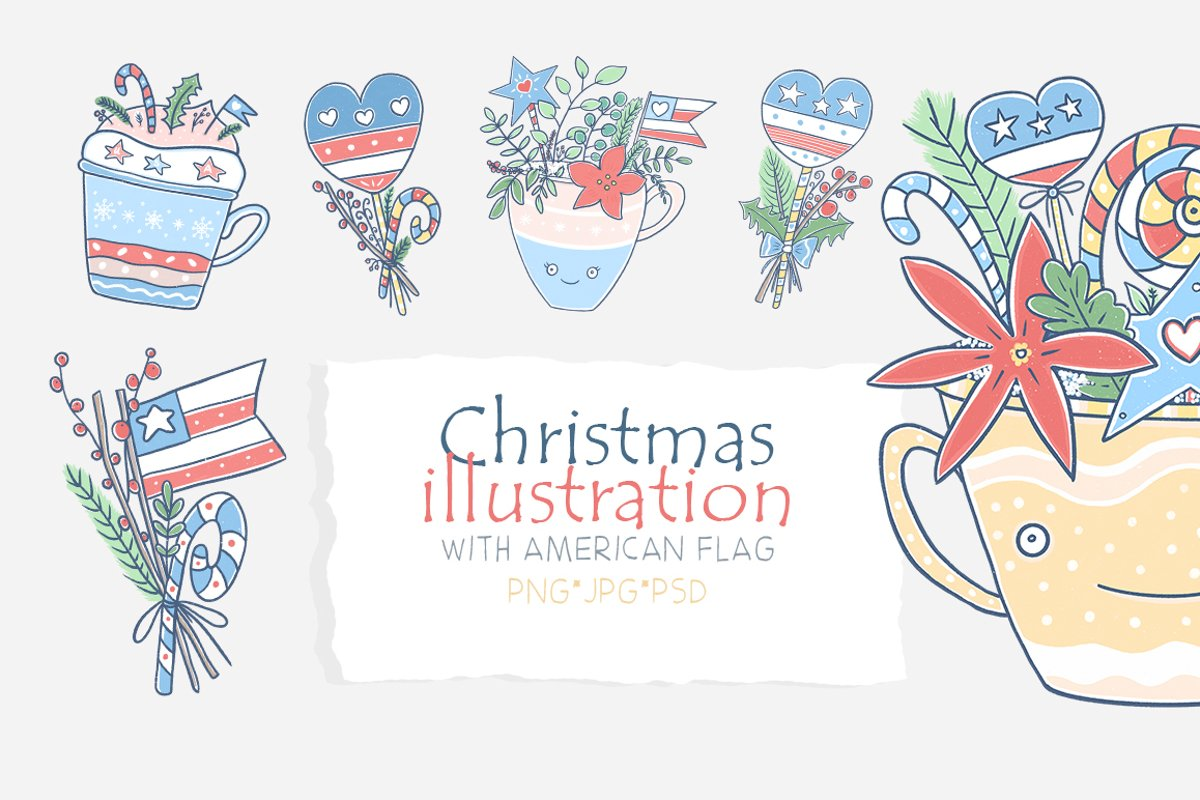 Christmas illustration with American flag. example image 1
