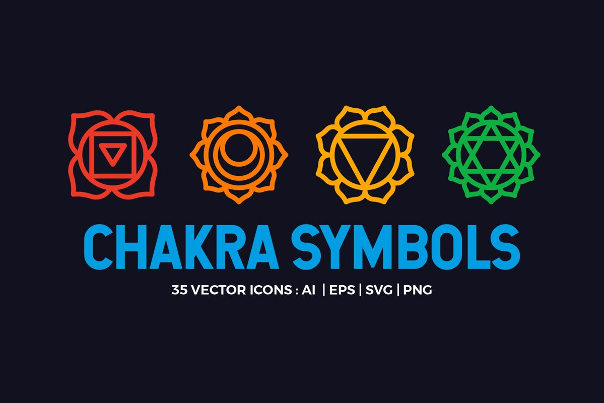 Chakra Symbols Set Spiritual Vector example image 1