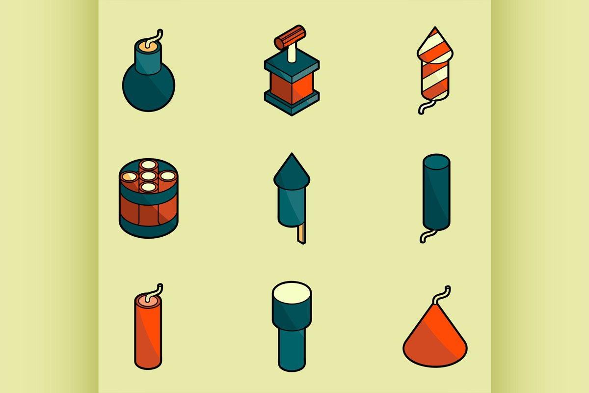 Pyrotechnics color outline isometric icons example image 1