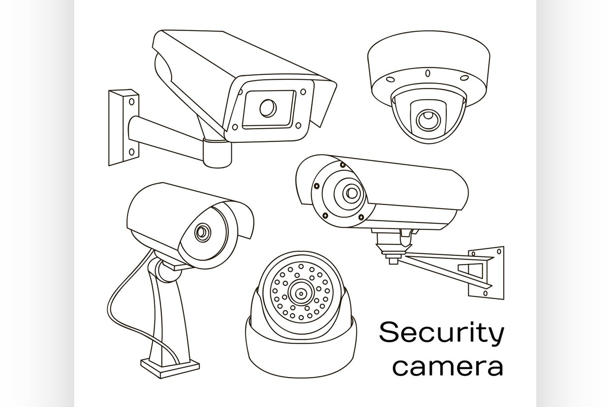 Vector set of security camera example image 1