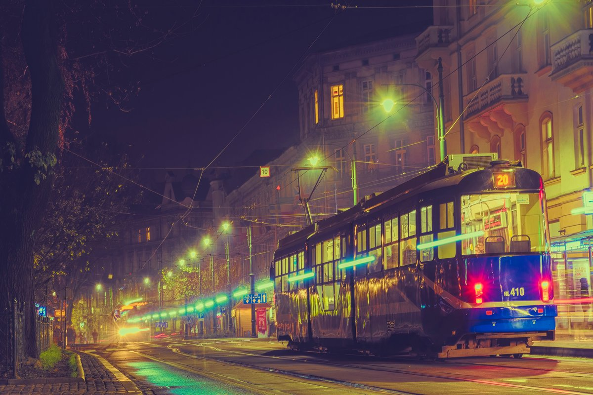 Night old city and passenger tram example image 1