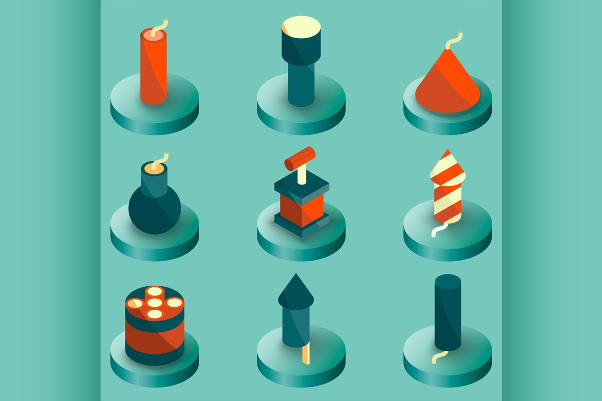 Pyrotechnics color isometric icons example image 1
