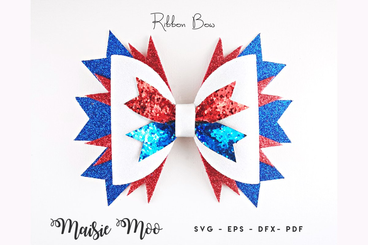 Ribbon Bow SVG, 4th July Bow SVG, USA Red White Blue Bow pdf example image 1