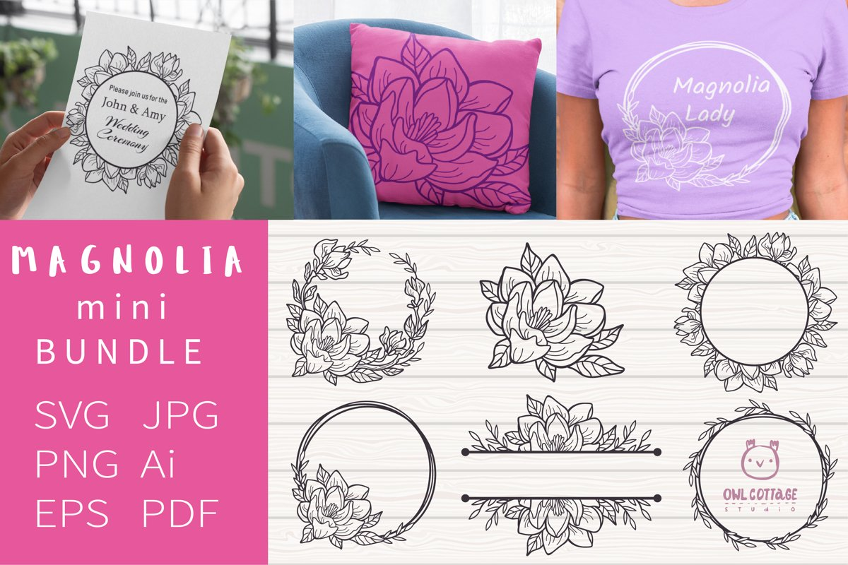 Magnolia mini Bundle SVG, Floral Monograms Cut Files, Weddin example image 1
