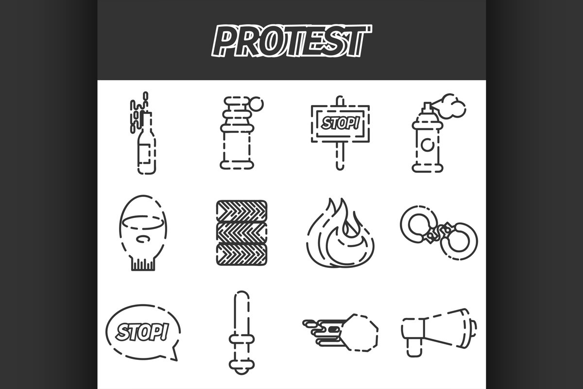 Protest icon set example image 1