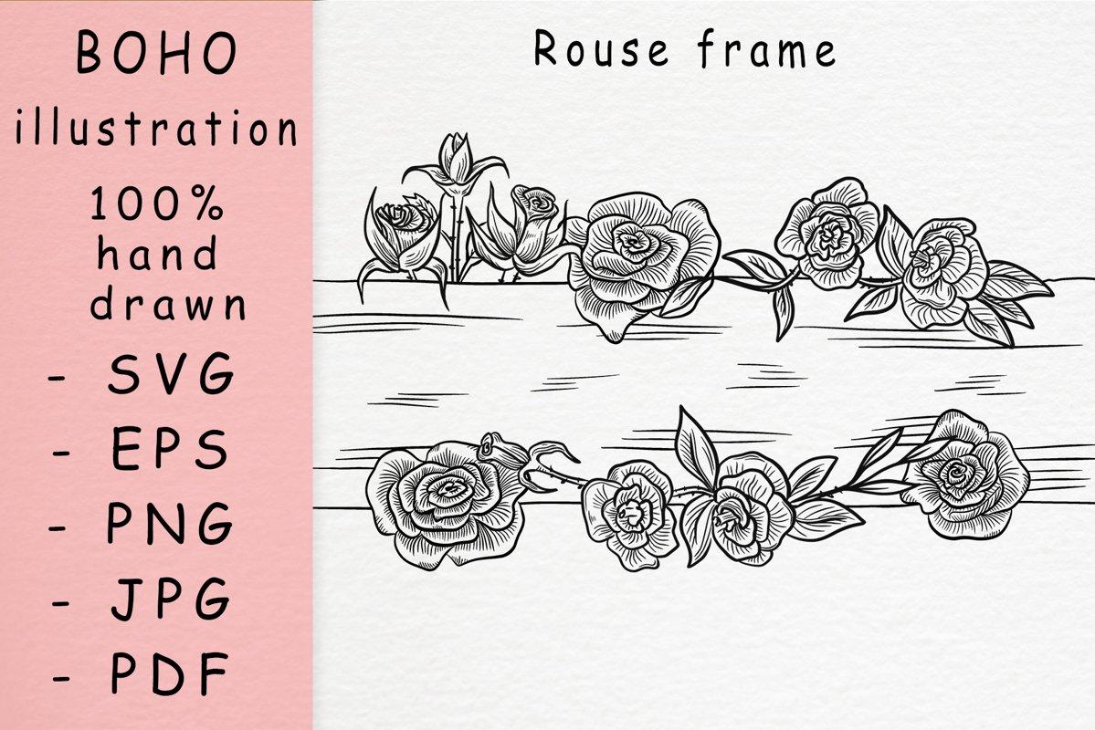 Boho illustration /rose frame example image 1