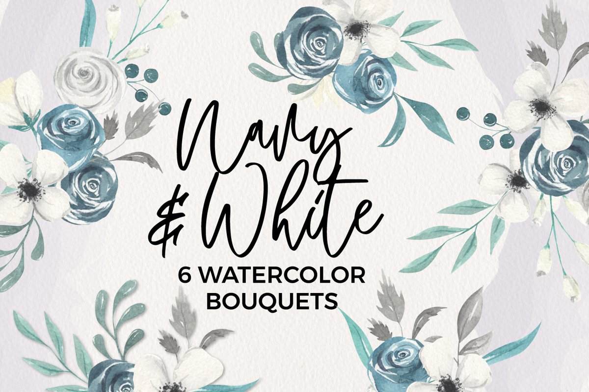 Navy & White Florals 6 Bouquets Watercolor Blooms Flowers example image 1
