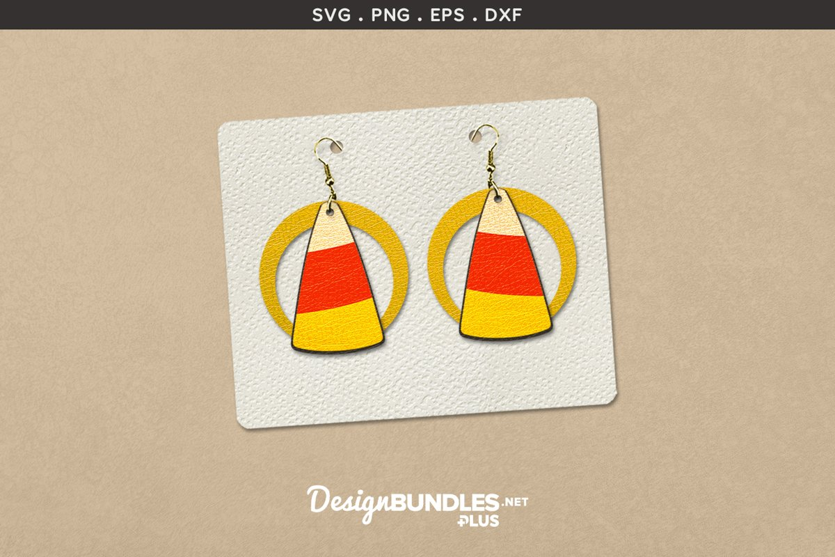 Halloween Earrings Template | Candy corn example image 1