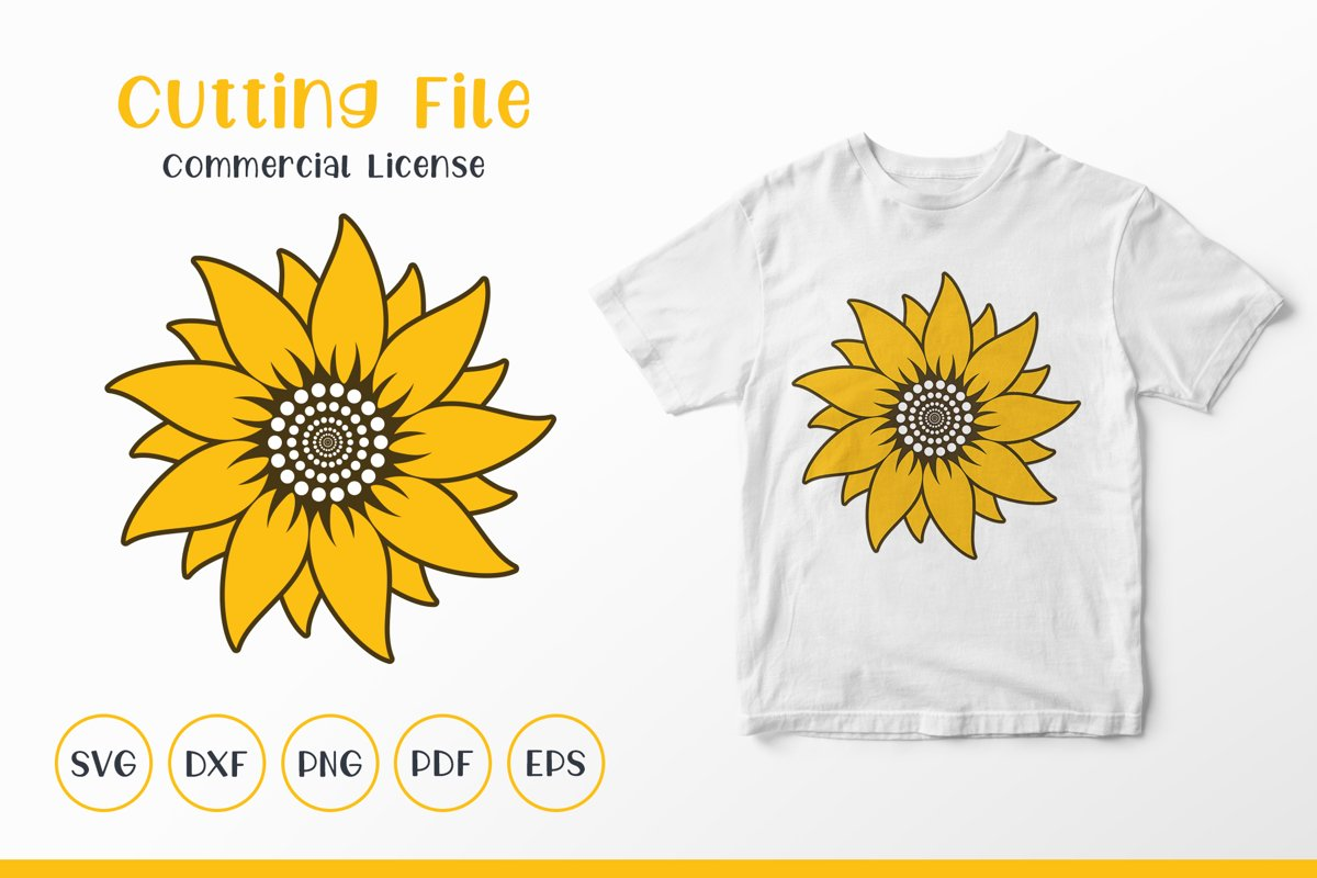 Sunflower SVG, Sunflower Clipart SVG, Sunflower Monogram SVG example image 1