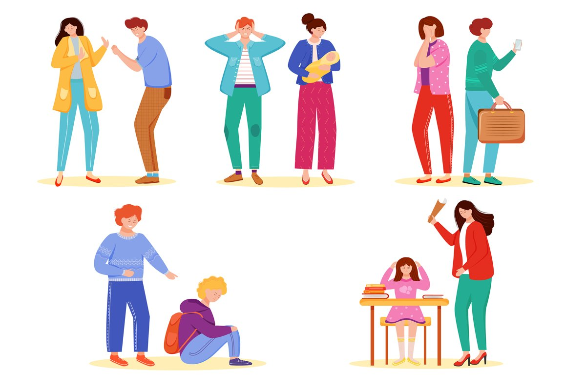 Trouble relationship flat vector illustrations set example image 1