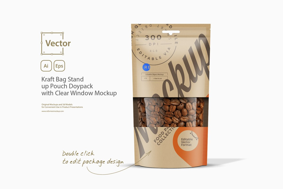 Kraft Bag Stand up Pouch Doypack with Clear Window Mockup example image 1