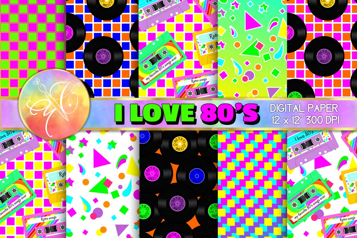I LOVE 80's Digital Paper, Digital Background example image 1