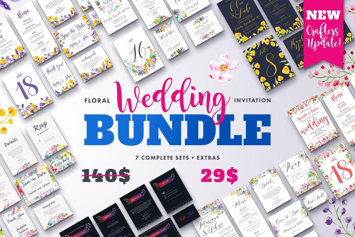 Floral Wedding Invitation PSD Bundle | Wedding Invitations example image 1
