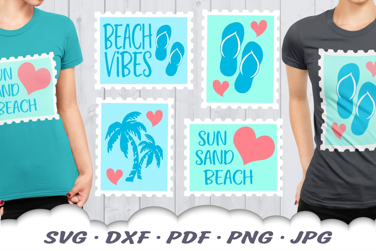 Beach Vibes Stamps SVG Bundle | Beach DXF Cut Files example image 1