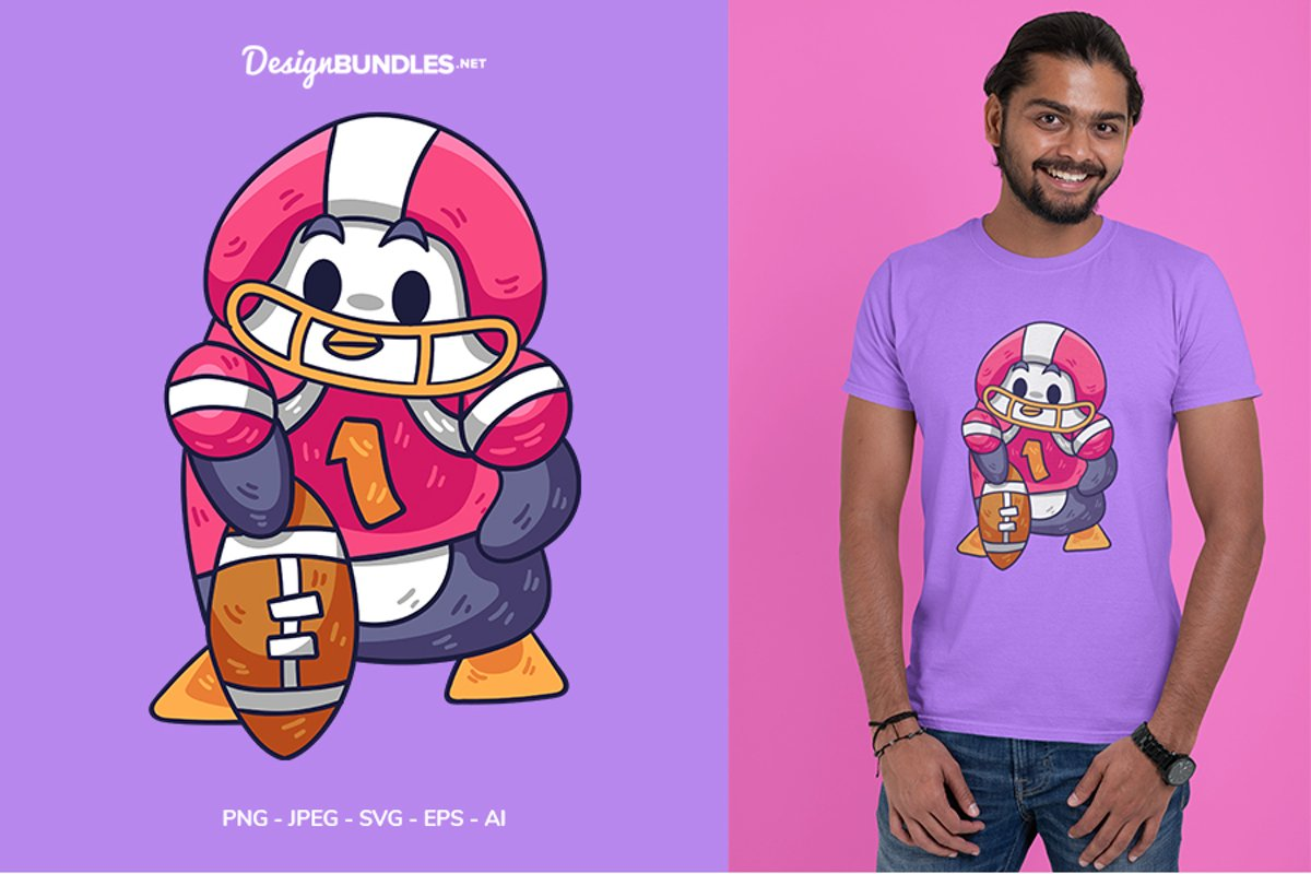 Penguin Playing Football Vector Illustration For T-Shirt example image 1