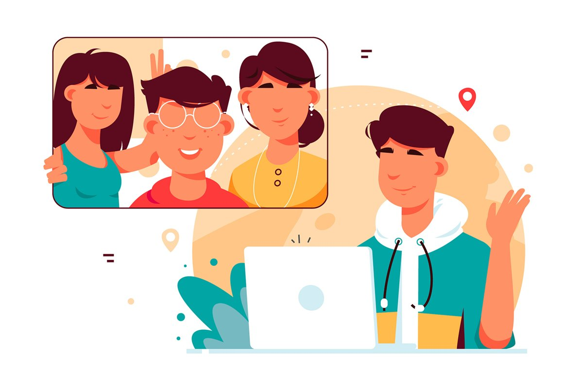 Video Calling With Friends - Vector Illustration example image 1