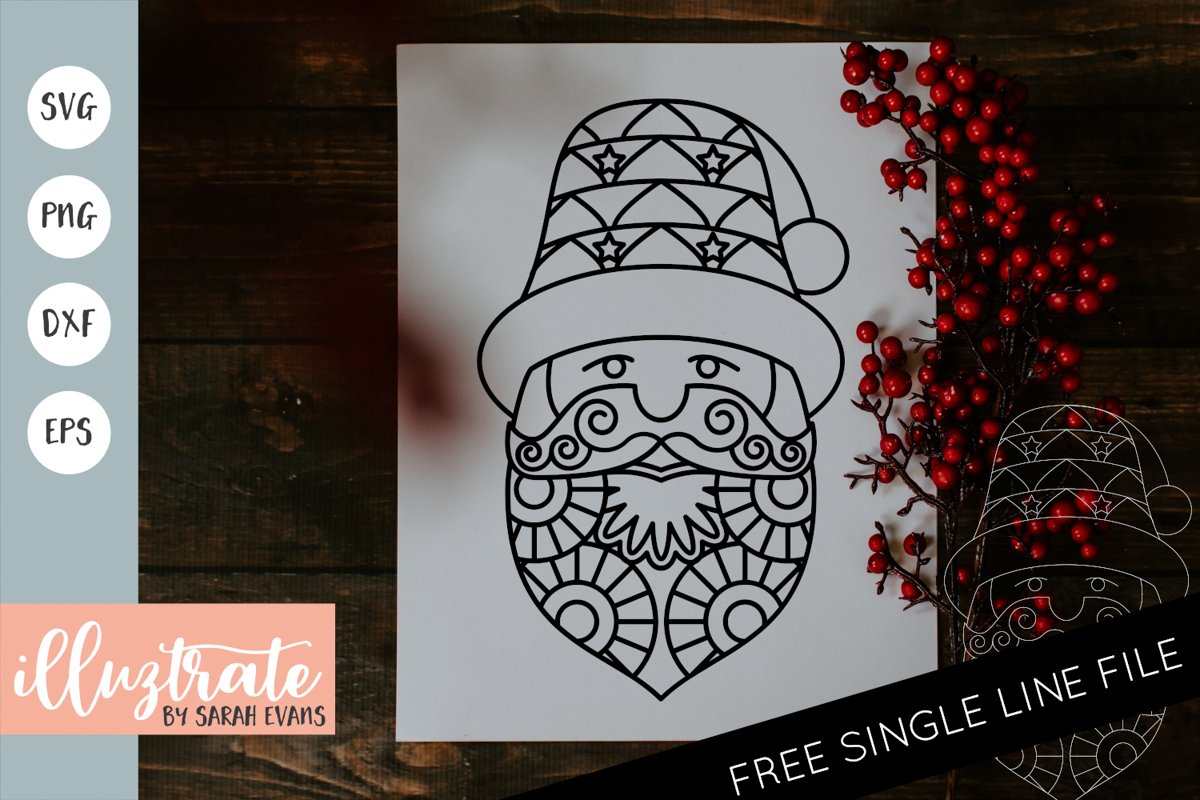 Santa Mandala SVG | Christmas Mandala SVG Cut File example image 1