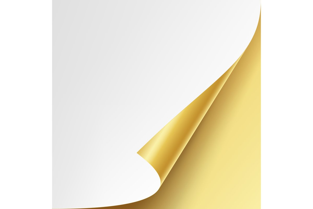 Curled Golden Metalic Corner Vector. White Paper with Shadow example image 1