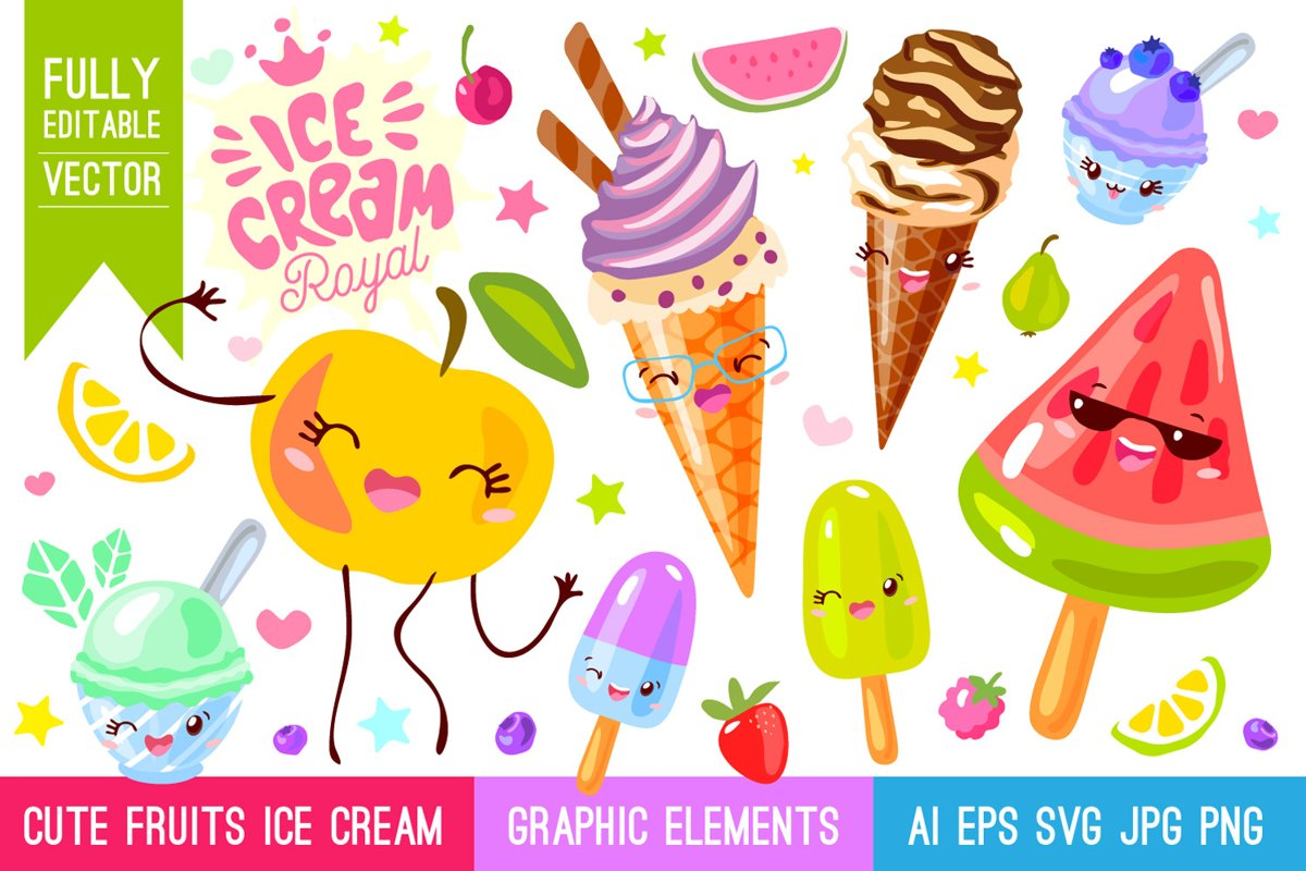 Cute Fruits Ice Cream Characters example image 1